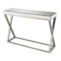 Sterling Klein Glass & Metal Console Table (Mirror & Silver)