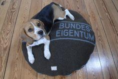 #GesineSchulz: Na, darin würden sich auch meine Katzen wohlfühlen: Hundebett aus original Bundeswehr Decken (via http://pinterest.com/interiorpark/design-for-pets/) #Katzen #Hunde
