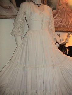Gunne Sax vtg 70s ecru cotton lace long maxi dress prairie wedding zip sleeve 11 #GunneSax