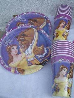bellepatrtyideas | Princess Belle Party Supplies 8 Favor Bags Loots Treats
