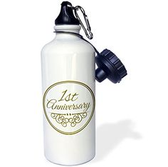3dRose wb_154443_1 1st Anniversary giftgold text for celebrating wedding anniversaries 1 first one year together Sports Water Bottle 21 oz White ** Check this awesome product by going to the link at the image.