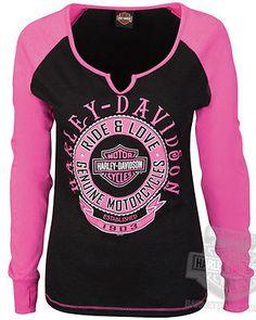 Harley-Davidson Ladies Notched Neck Black & Pink Raglan Long Sleeve T-Shirt | Clothing, Shoes & Accessories, Women's Clothing, T-Shirts | eBay!