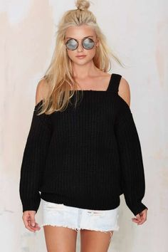 Shrug it Off Knit Sweater - Black - Clothes