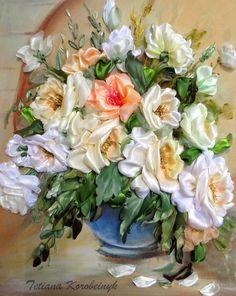 """Ricamo """" Vaso con le rose"""" , Silk ribbon embroidery, quadro da incorniciare, by Silkribbonembroidery, 100,00 € su misshobby.com"""