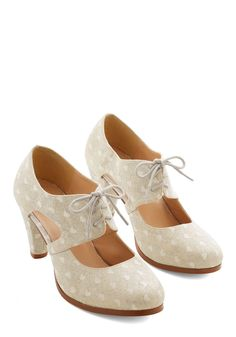 Sincerely Irresistible Heel in Ivory. Your genuine fervor for these darling ivory heels is evident with every buoyant step you take when wearing them! #cream #wedding #modcloth