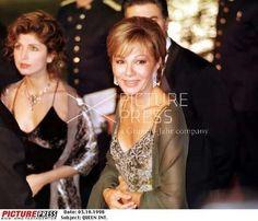 Empress Farah, Reza II and Princess Yasmine at Infanta Cristina's Pre-Wedding Celebration, Barcelona 1997