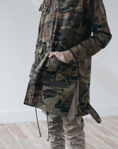 Profound Aesthetic Pre-Spring 2016. Washed Elongated Military Strap Jacket in Faded Woodland. profoundco.com
