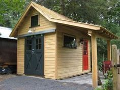 Millers outbuilding - A great selection of design ideas for potting sheds. Lots of inspiration here for the DIY enthusiast. The one pictured has at least 2 good ideas I like: a covered entry and a sliding barn-style door for equipment like a wheelbarrow or garden wagon. by mavis
