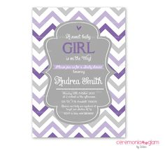Baby shower girl chevron lavender purple and grey by ceremoniaGlam