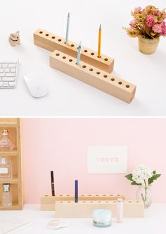 [바보사랑] 찾지않아도 되고~ 수납도 더 많이~ /나무/우드/brich/가구/인테리어/데스크용품/펜트레이/연필/펜/꽂이/디자인소품/wood/pencil/pen/tray/interior/Furniture