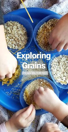 Exploring Grains sensory play- Mother Goose Time Health and Fitness theme for February 2019 - Preschool curriculum Food Groups - Grains activities Food Activities For Toddlers, Preschool Food, Nutrition Activities, Preschool Curriculum, Nutrition Education, Preschool Activities, Nutrition Websites, Nutrition Articles, Nutrition Information