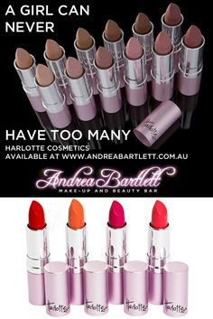 Harlotte Cosmetics - Available at Andrea Bartlett - Make-up & Beauty Bar - A GIRL CAN NEVER HAVE TOO MANY LIPSTICKS