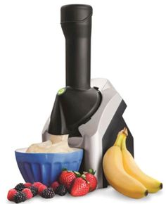 I love my Yonanas machine. Makes soft serve ice cream from frozen fruit. All natural, NO sugar added!!! How healthy and delicious is that?!!!