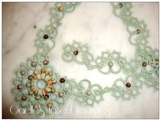 Tatted necklace with central motif Jasper stones