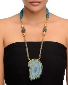 Golden Chain Necklace with Blue Agate Stone #Exclusivelyin #IndianEthnicWear #IndianWear #Fashion #Jewelry