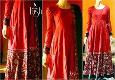 #macawz #designer #instafashion #anarkali #red #peach #georgette #green #floral #print #kalamkari