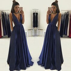Deep V-Neck Sexy Vintage Ball Gown Sleeveless Hot Sale Charming Simple Prom Dress Long. PD1015