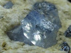 Benitoite (rare gemstone)  Very pale example, one location, San Diego County San Benito River, CA