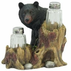 "Bear Salt & Pepper Shakers by Maple City Gifts. $31.50. Measures Approximately 6.25""W  X 6""H. Glass Shakers. Resin Bear. Resin Bear with glass Salt & Pepper Shakers. Measures approximately 6.25""W  X 6""H."