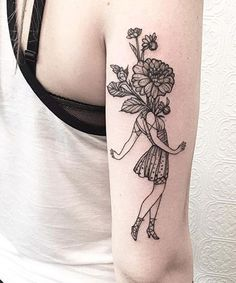 Amazing Flower Girl Tattoo Design