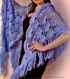 Stylish & Easy Shawl - Free Crochet Diagram - (easy-crochet.blogspot)