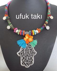 Otantik kolye/necklace Aztec Jewelry, Gypsy Jewelry, Jewelry Art, Jewelry Design, Diy Jewellery Chain, Handmade Necklaces, Handmade Jewelry, Collar Hippie, Diy Necklace