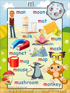 m words - m sound Phonics Poster - FREE & PRINTABLE - Perfect for phonics practice, auditory discrimination, spelling, Word Walls & Home Reading Practice. Phonics Reading, Teaching Phonics, Teaching Reading, Reading Practice, English Phonics, English Grammar Worksheets, Teaching English, Abc Activities, Language Activities