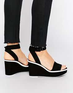 647bc41be1 ALDO Maygan Black Wedge Sandals at asos.com
