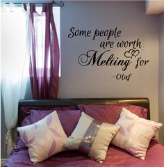"Some people are worth Melting for  - Frozen Inspired Vinyl Wall Art Decal for the Home Living Room or Bedroom - 23"" W x 15"" H"