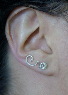 Rose ear pins  Sterling silver ear sweep  Flower by atelierblaauw, €16.50