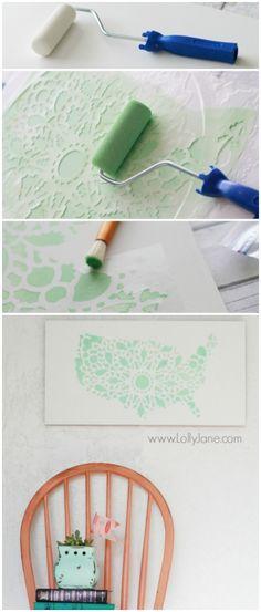 Pretty mint stencil United States sign, easy home decor tutorial. @lollyjaneblog