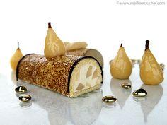 Mousse à la poire filling (here for the buche). French Desserts, Köstliche Desserts, Delicious Desserts, Dessert Recipes, Christmas Cooking, Christmas Desserts, Gourmet Recipes, Sweet Recipes, Proof Of The Pudding