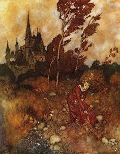 """""""She was always picking flowers"""" by Edmund Dulac an illustration from """"A Wind's Tale"""" by Hans Christian Anderson Art And Illustration, Botanical Illustration, Fairy Tale Illustrations, Watercolor Illustration, Edmund Dulac, Fata Morgana, Arthur Rackham, Fairytale Art, Hans Christian"""