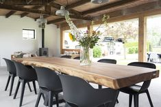 Tree trunk table - Masa bucatarie - TREE TRUNK TABLE I Beautiful wooden tree trunk table with a black steel frame. The top is made of s - Dining Room Chairs, Dining Room Table, Albion House, Tree Trunk Table, Condo Living, Dining Room Design, Sweet Home, New Homes, Interior
