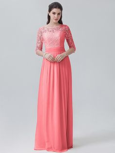 Lace Chiffon Long Sleeved Dress