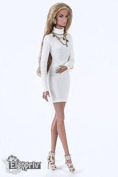ELENPRIV ivory crepe poloneck mini dress for Fashion royalty
