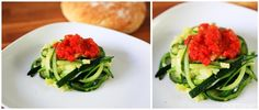 courgettes, spaghetti, sauce, tomate, vert, red, green, rouge, blanc, pain