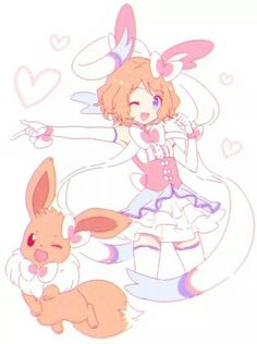 Serena and her Eevee ♡ I give good credit to whoever made this