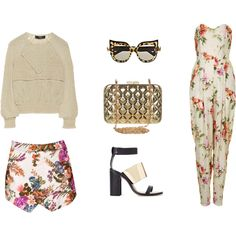 """BY DAY AND BY NIGHT"" by workingincloset on Polyvore #fashion #look #workingincloset #onblog #outfit #floral #jumpsuit #sandal #clutch #gold #sunglasses #skort"