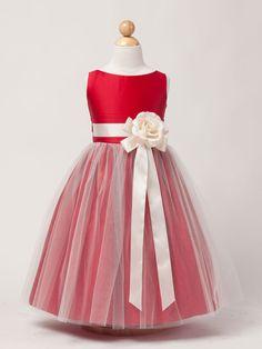 Black Satin Flower Girl Dress with Tulle skirt