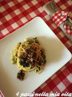 4 passi nella mia vita: Primi piatti:Spaghetti integrali con cicorie puntarelle ed emulsione di acciughe