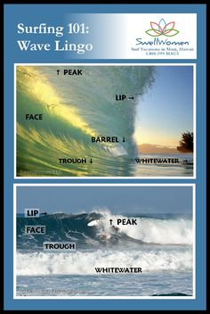 Surf Lingo - What's in a Wave? Peak to through, all the need to know wave terms for surfing.