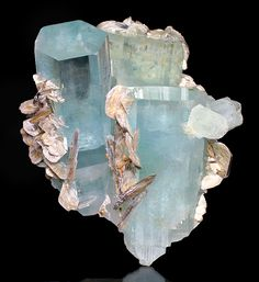 Aquamarine crystals and Muscovite. Stunning! From Chuman Bakhoor, Hunza Valley, Gilgit District, Cilgit-Baltistan, Pakistan