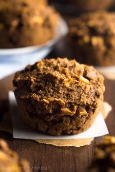 Apple Gingerbread Bran Muffins -- one simple trick gives these the same texture as cupcakes! They're the perfect healthy breakfast treat!
