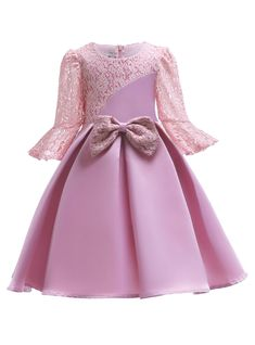 To find out about the Toddler Girls Bow Front Contrast Lace Dress at SHEIN, part of our latest Toddler Girl Dresses ready to shop online today! Girls Evening Dresses, Gowns For Girls, Girls Dress Up, Kids Outfits Girls, Toddler Girl Dresses, Little Girl Dresses, Girl Outfits, Flower Girl Dresses, Dress Outfits
