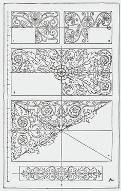 "From, ""A Handbook of Ornament"". 1898 by Franz Sales Meyer. Shape Design, Pattern Design, Textile Patterns, Embroidery Patterns, Grabar Metal, Gothic Pattern, Stencil Printing, Traditional Paintings, Corner Designs"