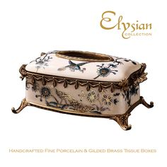 Gold Pheasant Crackle Finish Porcelain & Brass Tissue Box  #elysiancollectiontissuebox #marieantoinette #valentinesday