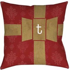 Thumbprintz Giftwrap Monogram Decorative Pillows, Red