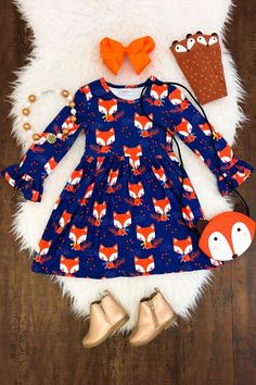 Girl's Fox Bell-Sleeve Dress in Navy Little Girl Outfits, Cute Outfits For Kids, Little Girl Fashion, Toddler Girl Outfits, Toddler Fashion, Kids Fashion, Kids Summer Dresses, Outfits Niños, Baby Kids Clothes