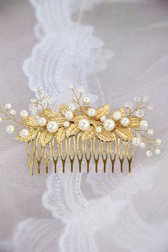 gold leaf hair, ivory pearl hair comb от TopGracia на Etsy
